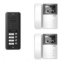 AN4BE-2F COMMAX Coreea Kit videointerfon alb/negru pentru 2 familii